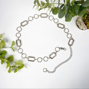 Silver Tone Metal Chain Adjustable Statement Belt